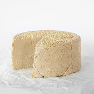 Available in 6.6 lb rounds. Seed + Mill Sesame Halva. Gluten-free, dairy-free, and vegan. Whole cake serves approx. 40-45 hungry guests! Buy a whole cake and add some excitement to any celebration!