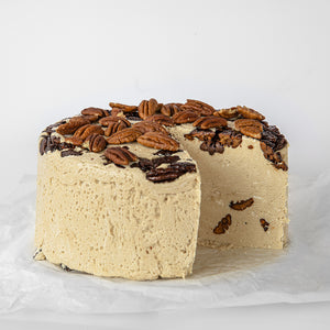 Available in 6.6 lb rounds. Seed + Mill Sweet Pecan Halva. Gluten-free, dairy-free, and vegan. Whole cake serves approx. 40-45 hungry guests! Buy a whole cake and add some excitement to any celebration!