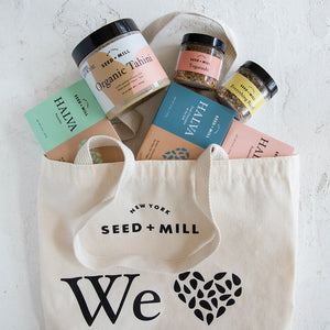 Seed + Mill Tahini, Halva, and Spice Blends cozy in a Seed + Mill Tote. What a perfect gift!