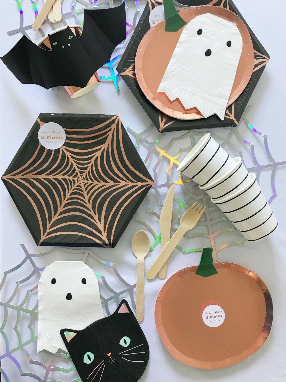 Halloween Spider Web Plates Large