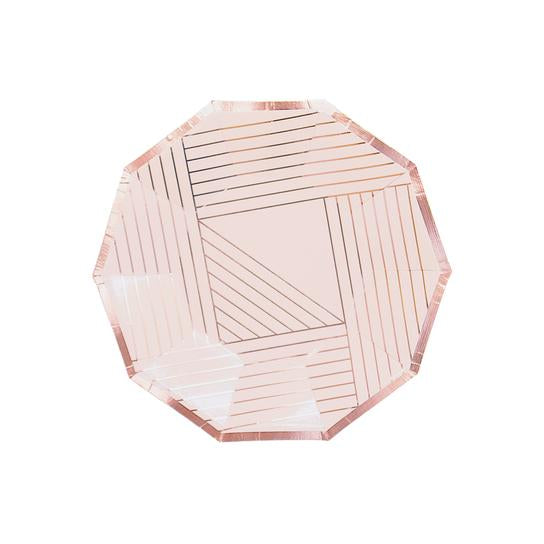 Pale Pink With Rose Gold Striped Small Paper Plates