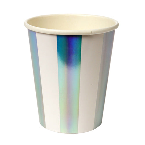 Holographic Silver Stripped Cup