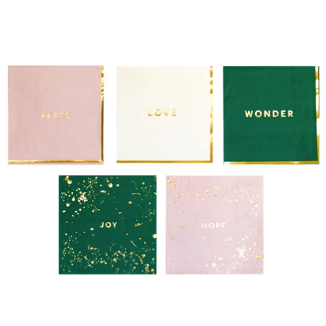 Well Wish Multi-Colored Cocktail Napkin Boxed Set