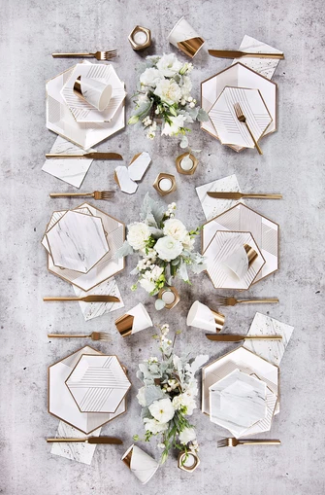 White And Gold Striped Small Paper Plates