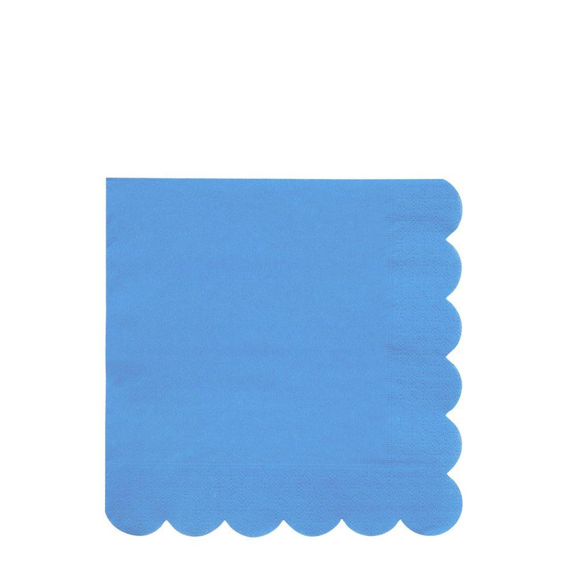 Bright Blue Large Scallop Edge Napkins