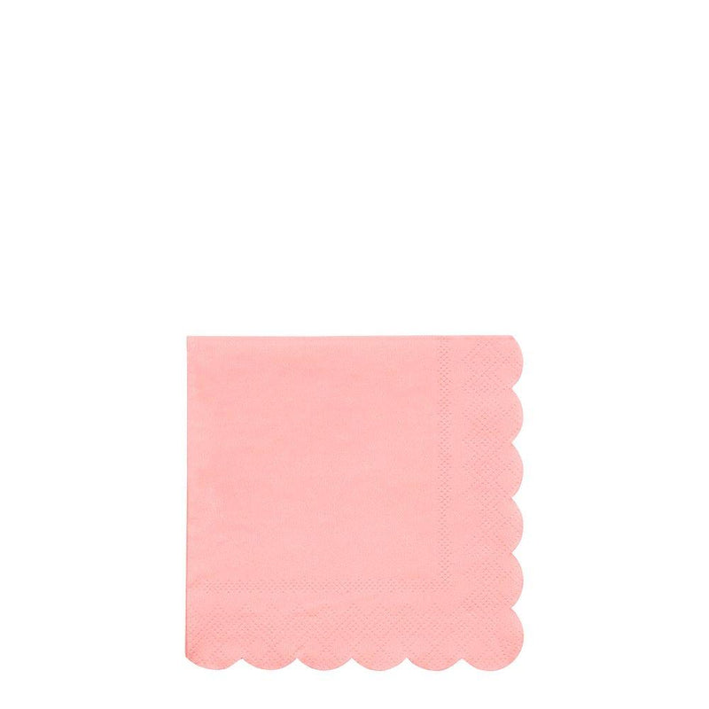 Neon Coral Scallop Edge Cocktail Napkin