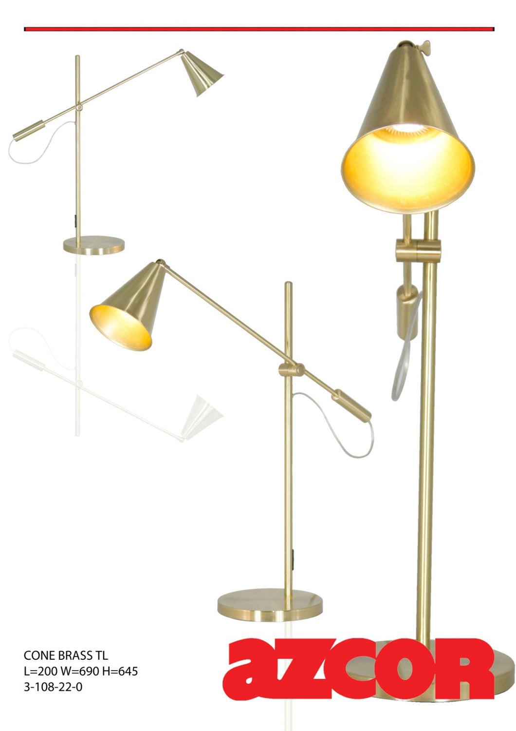 Cone Brass Table Lamp