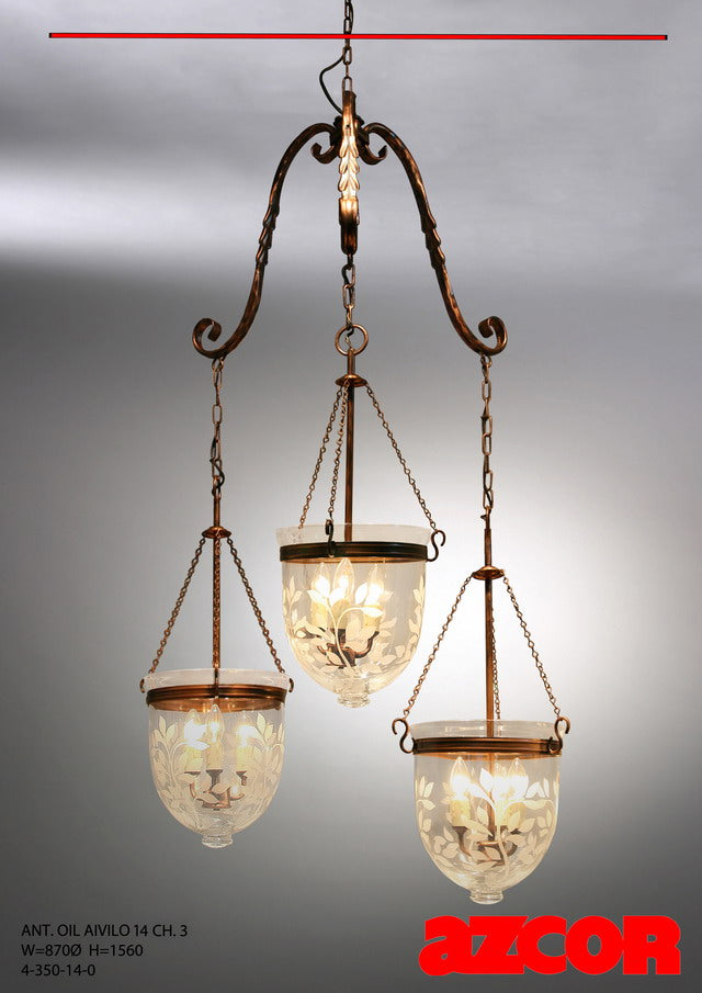 Antique Oil Aivilo Chandelier Cluster 3