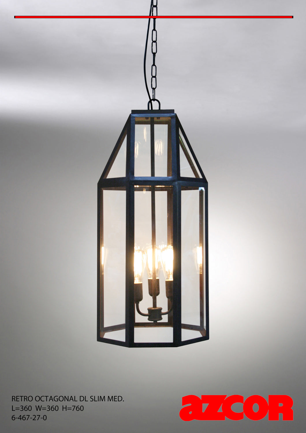 Retro Octagonal Slim Half Drop Light