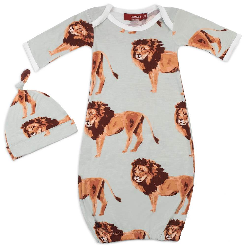 Newborn Gown and Hat Set in Lion