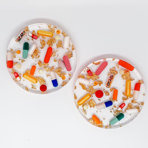 Pills + Gold Coasters
