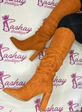 Burnt Orange Scrunch Knee boots