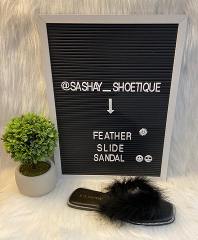Feather Slide Sandal (Black)