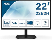 "Charger l'image dans la galerie, AOC 21.5"" Led Monitor with HDMI/VGA Port, Full HD, Wall Mountable, 3 Side Borderless,Black - 22B2HS"