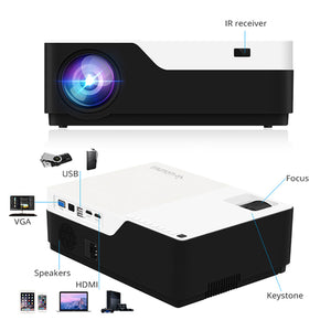 "Wownect 1080 Full Hd Led Projector, 5500 Lumens, Keystone Correction, Screen Size Of 46""-300"" [ Mobile Mirroring Via Hdmi Cable ] [ Perfect For Office Presentation Or Home Theater Projector ] - M18"