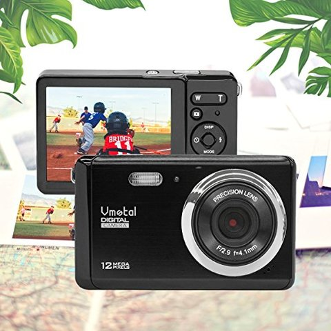 2.8 inch LCD Rechargeable HD Mini Digital Camera, Vmotal Video Camera Digital Students Cameras 12 MP/HD Compact Camera Sports,Travel,Holiday,Birthday Present for Kids/Beginners/Teens/Seniors (Black)