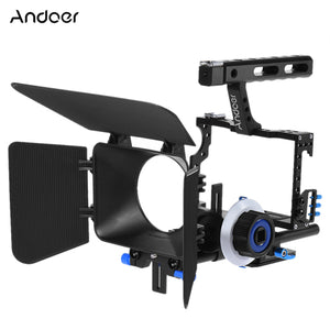 Andoer-C500 Aluminum Alloy Camera Camcorder Video Cage Rig Kit Film Making System with 15mm Rod Matte Box Follow Focus Handle Grip for Panasonic GH4 for Sony A7S/A7/A7R/A7RII/A7SII