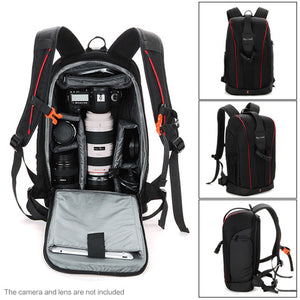 Generic-Camera Lens Black Photography Padded Shockproof Water-resistant Backpack Bag Case for Nikon Canon Sony DSLR Camera Accessories
