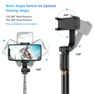 APEXEL-APL-D6 4-Section Single Axis Handheld Gimbal Stabilizer with Selfie Stick Tabletop Tripod Functions 360° Flexible Rotation with Remote Control for Smartphone Vlogging Taking Selfie /Group