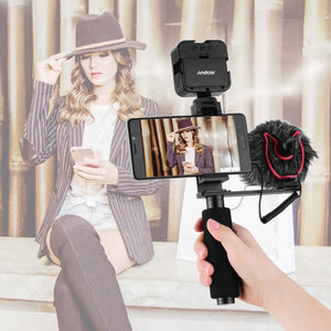 Andoer-Smartphone Vlogging Hand Grip Mobile Phone Video Recording Holder Handle Stabilizer Cellphone Clamp 40mm-85mm Width with Microphone and Mini LED Light