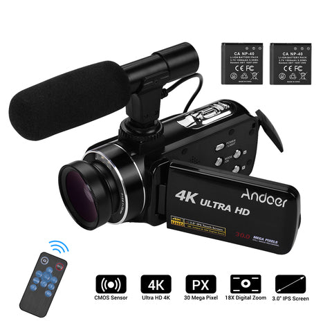 Andoer-4K Ultra HD Handheld DV Professional Digital Video Camera CMOS Sensor Camcorder with 0.45X Wide Angle Lens with Macro Stereo On-Camera Microphone Hot Shoe Mount 3.0 Inch IPS Monitor Burs