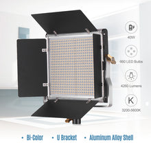 Charger l'image dans la galerie, Andoer-2 Packs LED Video Light and 78.7 Inches Stand Lighting Kit Dimmable 660 LED Bulbs Bi-Color Light Panel 3200-5600K CRI 85+ with U Bracket & Barndoor for Studio Photography Video Outdoor ing