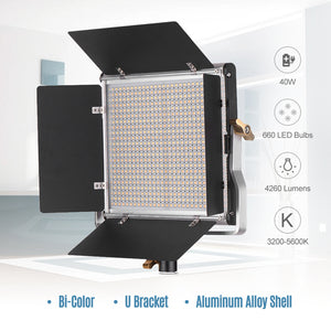 Andoer-2 Packs LED Video Light and 78.7 Inches Stand Lighting Kit Dimmable 660 LED Bulbs Bi-Color Light Panel 3200-5600K CRI 85+ with U Bracket & Barndoor for Studio Photography Video Outdoor ing