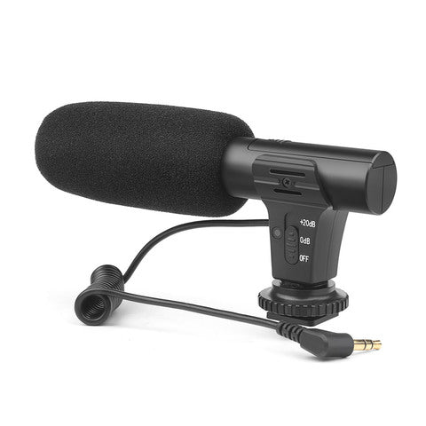 SHOOT-XT-451 Portable Condenser Stereo Microphone Mic with 3.5mm Jack Hot Shoe Mount for Canon Sony Nikon Camera Camcorder DV Smartphone for Video Studio Recording Interview Webcast
