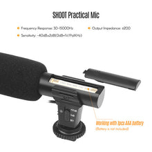 Charger l'image dans la galerie, SHOOT-XT-451 Portable Condenser Stereo Microphone Mic with 3.5mm Jack Hot Shoe Mount for Canon Sony Nikon Camera Camcorder DV Smartphone for Video Studio Recording Interview Webcast