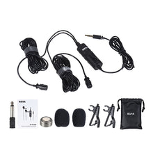 Charger l'image dans la galerie, BOYA-BY-M1DM Dual Omni-directional Lavalier Microphone Lapel Clip-on Condenser Microphone for Canon Nikon Sony DSLR Camera Camcorder for iPhone Samsung Huawei Smartphone Audio Recorders PC & Other
