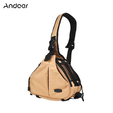 Andoer-K1 Triangle DSLR Camera Bag Cross Sling Carry Case Shockproof Waterproof with Tripod Holder for Canon Nikon Sony Olympus Pentax