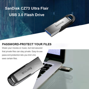 SanDisk-USB 3.0 Flash Drive Flashdisk Memory Stick CZ73 Ultra Flair Pen Drives Pendrive 32GB U Disk 150MB/s for PC