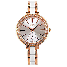 Large Rose Gold Diamonte Face Watch - White