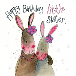 Little Sister Rabbit Birthday Card