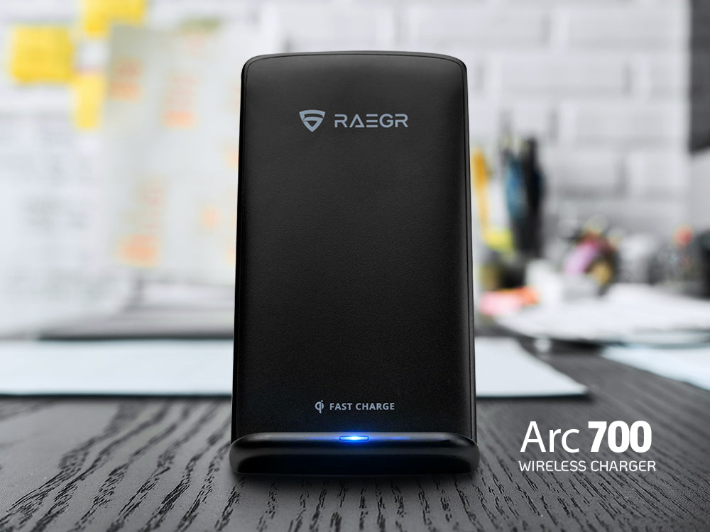 Ditch the headache of cables with RAEGR Arc 700 Qi-Certified Wireless Charging Stand!