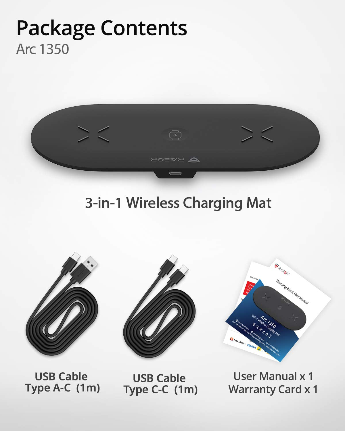 RAEGR Arc 1350 [3-in-1] Triple Wireless Charging Pad Trio Mat