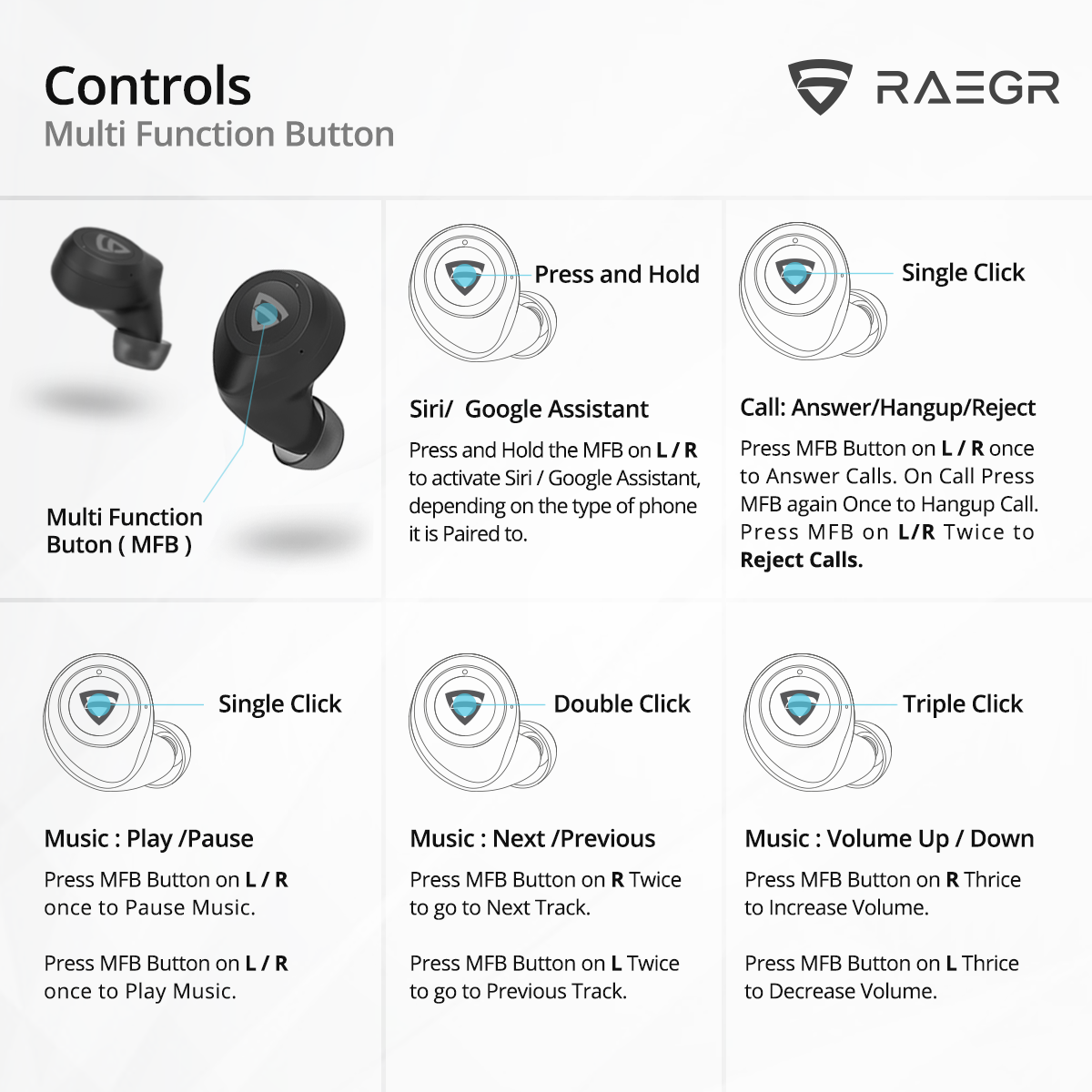 RAEGR AirShots 550 TWS Wireless Bluetooth Earbuds