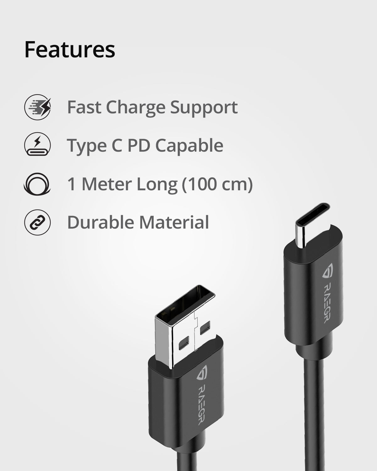 RAEGR RapidLine USB Type C to Type A cable (3A, 1 Meter)
