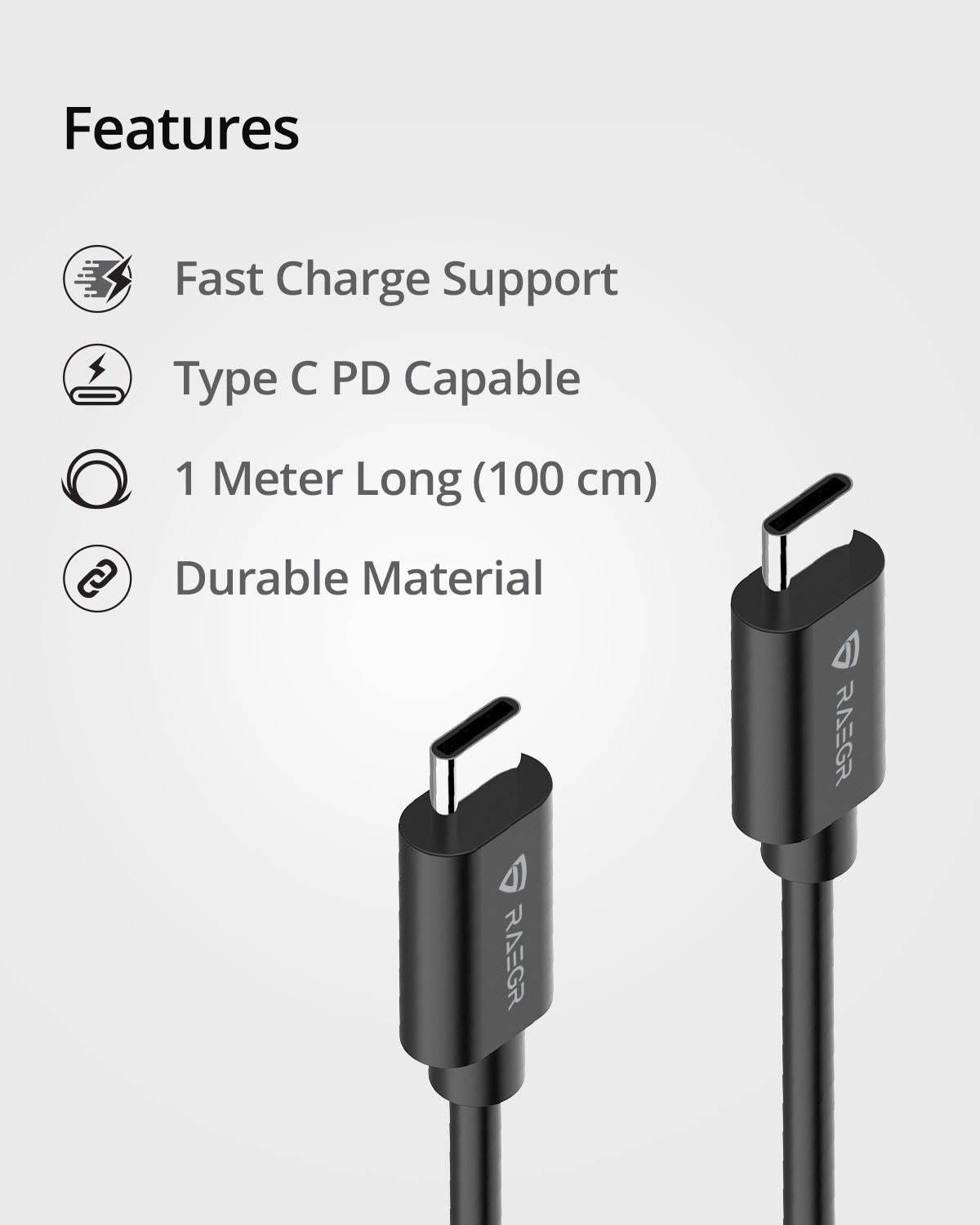 RAEGR RapidLine USB Type C to Type C cable (3A, 1 Meter)