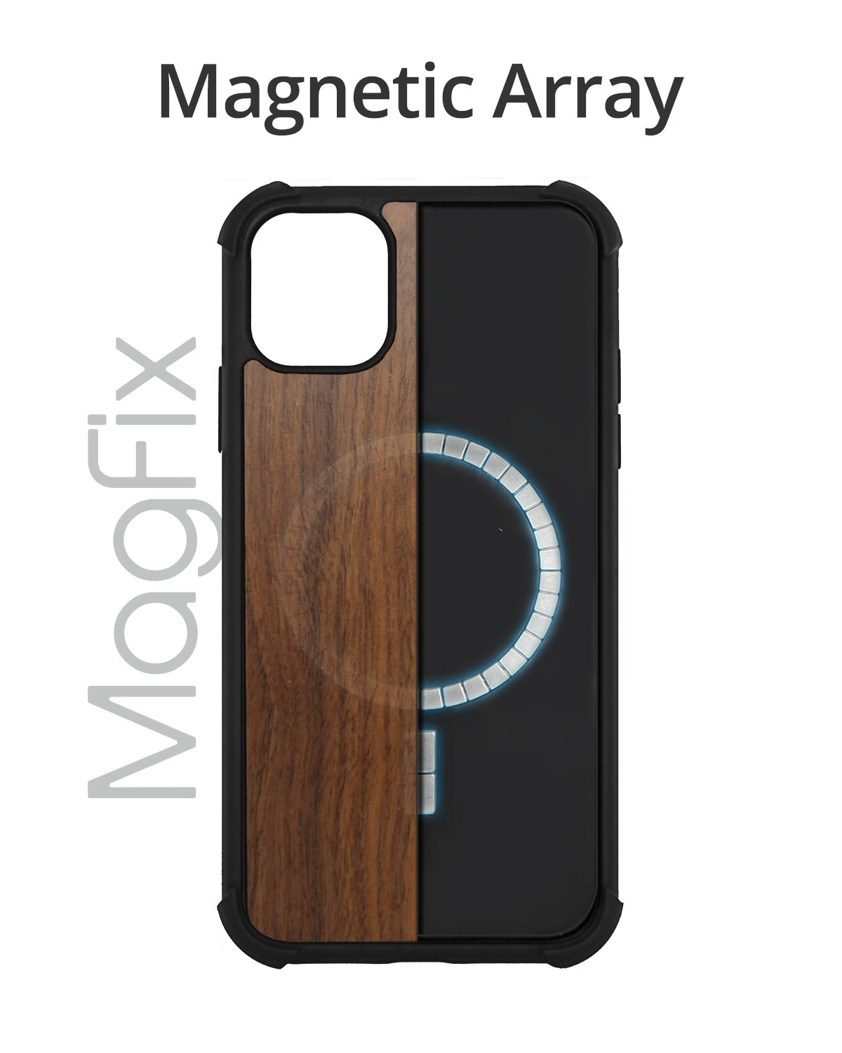 "RAEGR iPhone 12 Mini 5G MagFix Magnetic Case, Supports Mag-Safe Wireless Charging 5.4""- Elements Armor Case  with Real Wood"