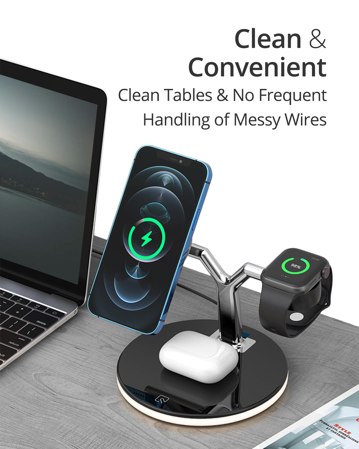 RAEGR MagFix Trio Arc M1700 MagSafe Compatible Wireless Charging Station (3 in1)