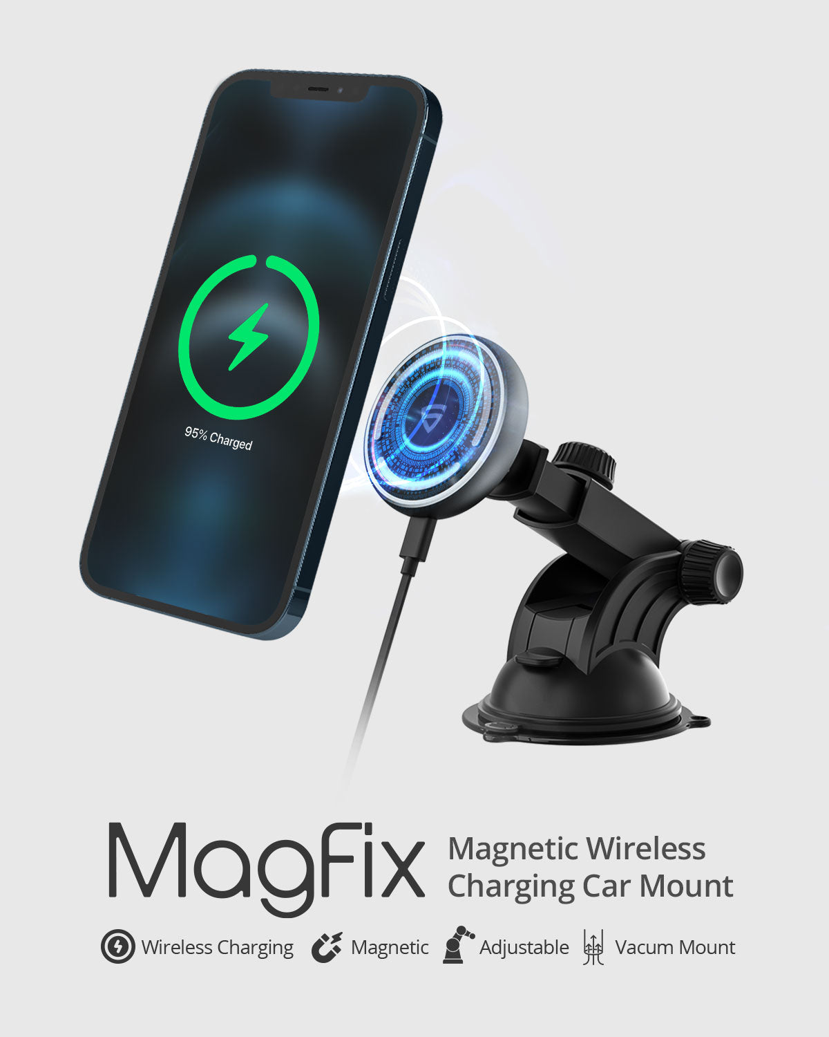RAEGR MagFix Arc M1310 Adjustable Telescopic Wireless Car Charger
