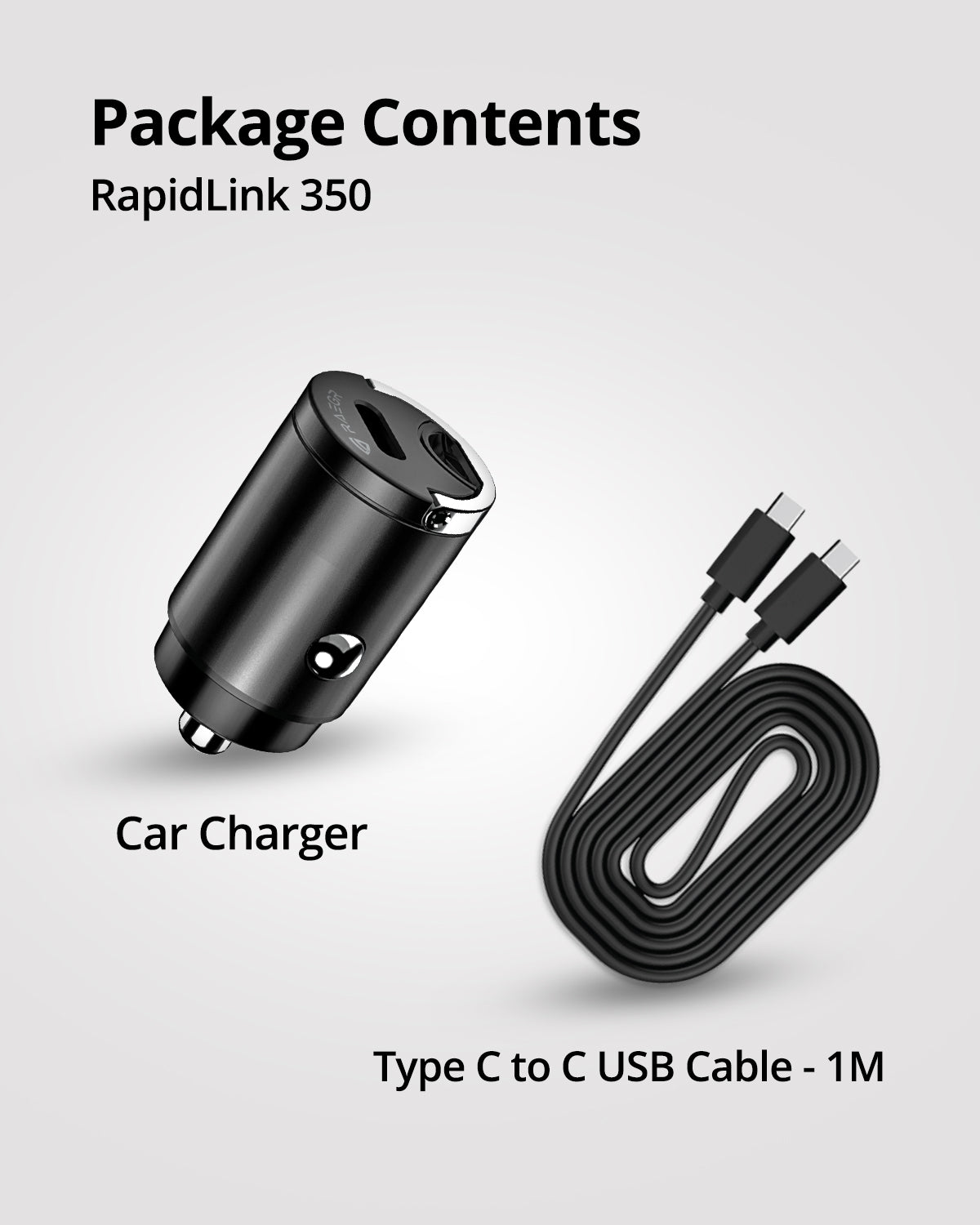 RAEGR RapidLink 350 Type C 30W Car Charger with Type C-C Cable, 30W PD Fast Car Adapter