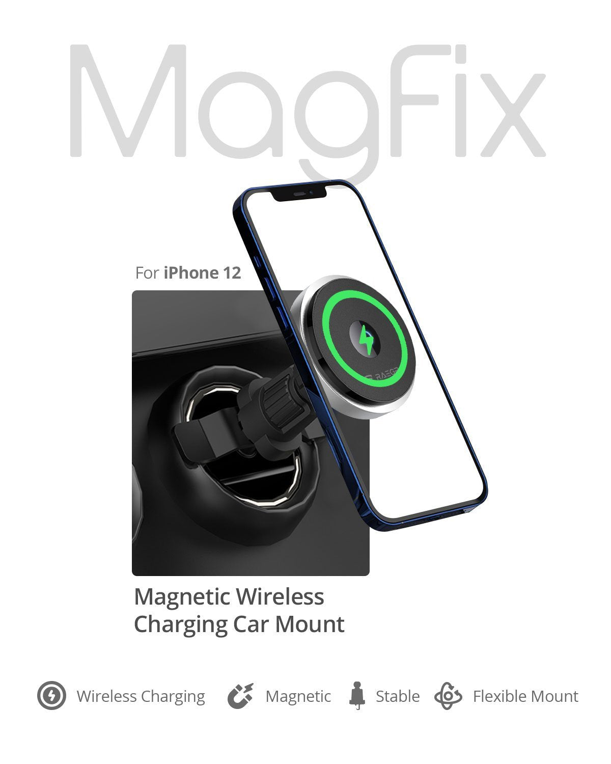 RAEGR MagFix Arc M1300 15W Mag-Safe Wireless Car Charger / Wireless Charging Magnetic Mount