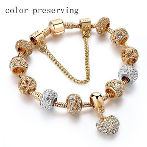 Luxury Crystal Heart Charm Gold Bracelets&Bangles for women