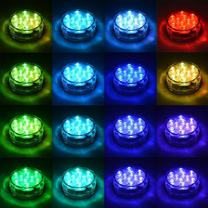 10 Led Remote Controlled RGB Submersible Light Battery Operated Underwater Night
