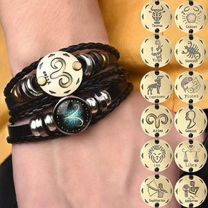 2pcs/set 12 Constellation Zodiac Horoscope Leather Bracelets