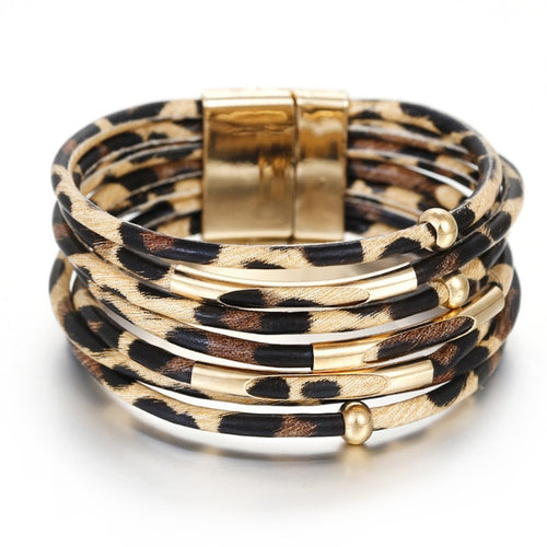 Leopard Leather Multilayer Wide Wrap Bracelets Women