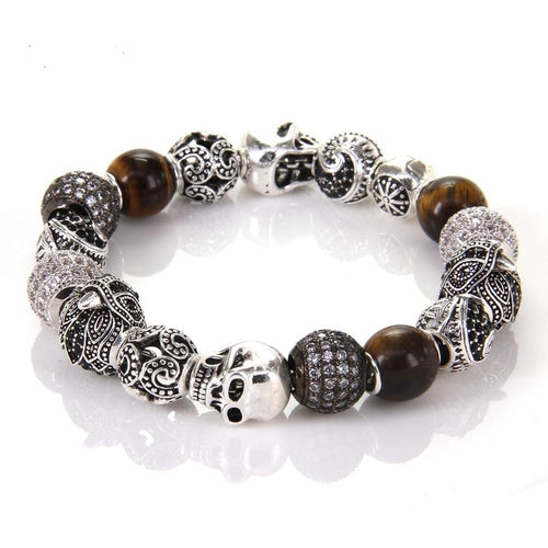 Bead With Eagle Tiger's Eye OWL Maori Skull Beads, Karma Bracelet Rebel Heart Jewelry