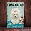 White Poodle Dog High Tea Canvas MR0602 85O58